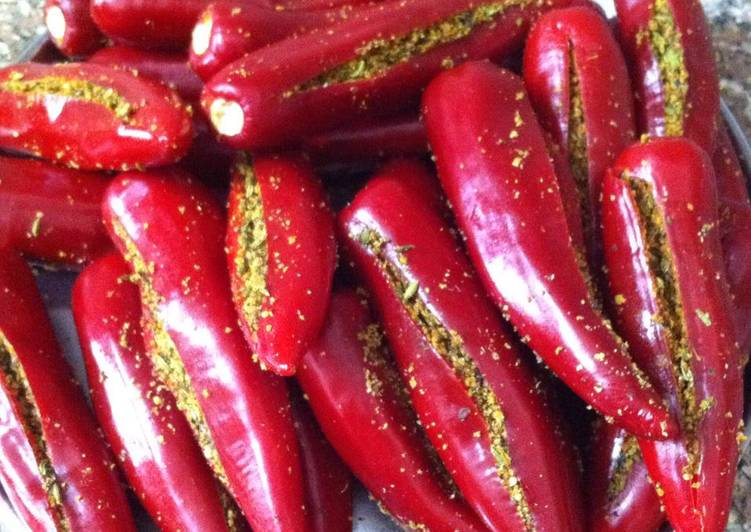 Stuffed red chillies - Laurie G Edwards