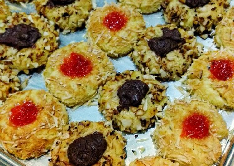 Choco Peanut and Strowberry Cheese Thumbprint Cookies