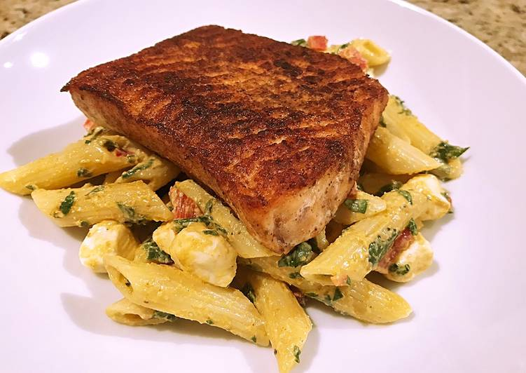 Easiest Way to Prepare Ultimate Blackened salmon over smokey mozzarella pasta