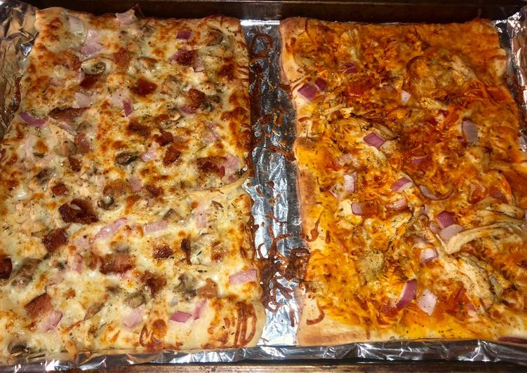 Chicken bacon ranch & buffalo chicken pizza 🍕 🍗 🥓 🍄 🌶