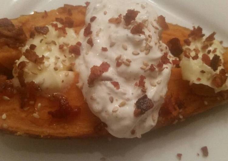 Recipe of Most Popular Sesame Baked Sweet Potatoes w/ Roasted Garlic Sour Cream