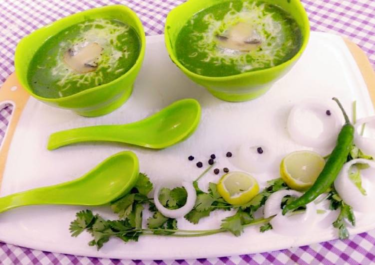 Steps to Make Speedy Spinach mushroom soup