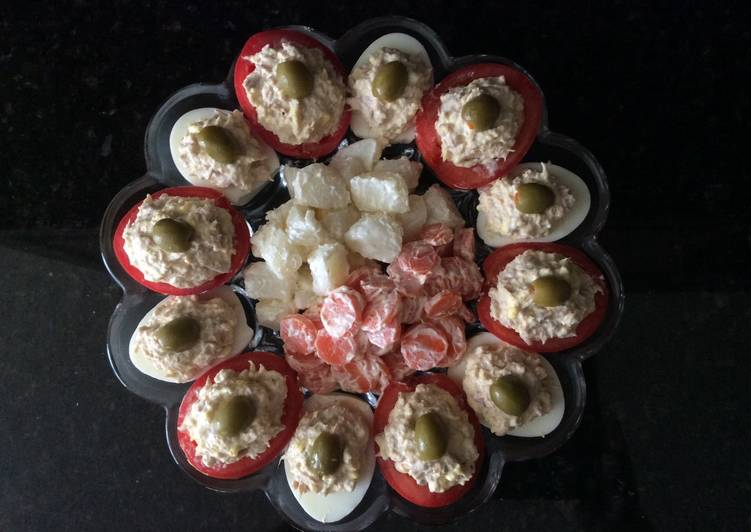 Steps to Prepare Award-winning Stuffed Tomatoes and Deviled Eggs