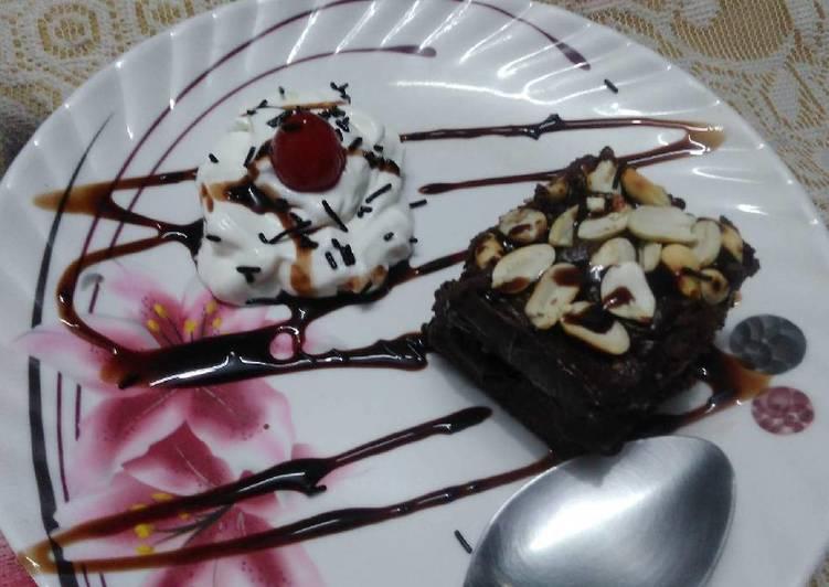 Recipe Chocolate and peanut fudge brownie Delicious