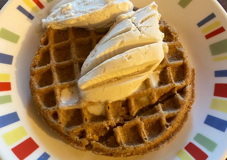 Easiest Way to Make Super Quick Homemade Vegan Ice Cream-Topped Waffle