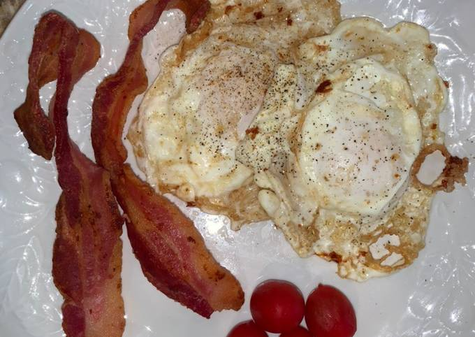 Over Easy Fried Eggs and Bacon