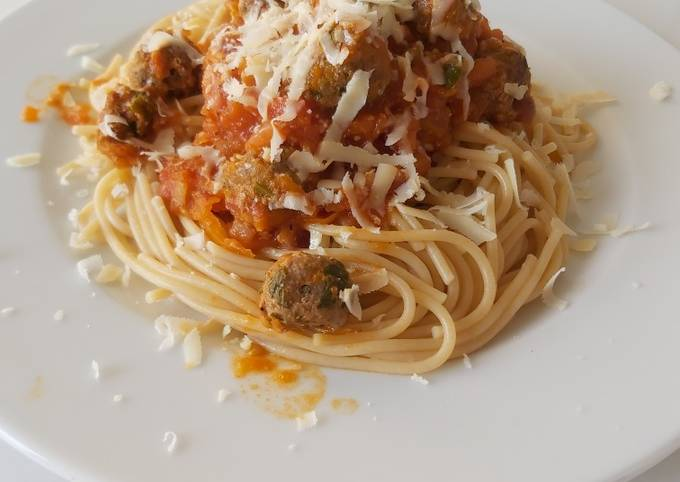 Minced Meat and Cheese spaghetti