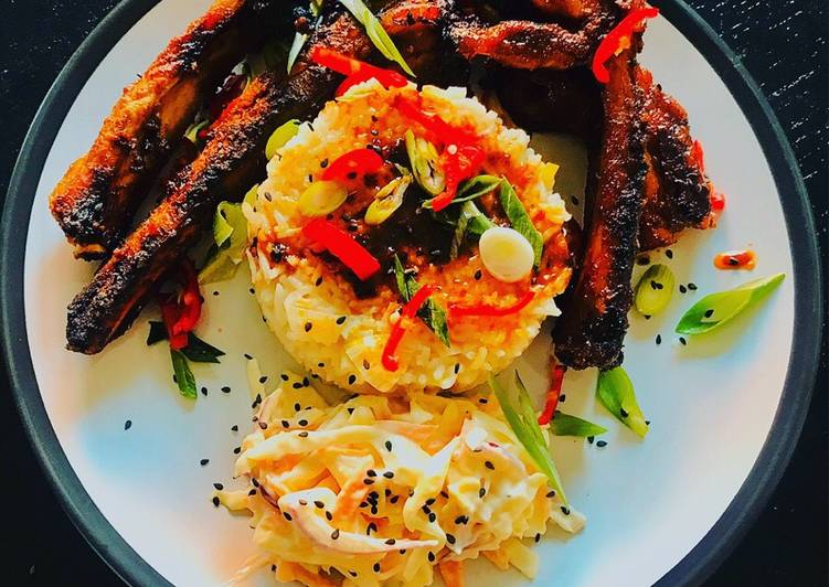 Lime and chilli rice with sticky spicy pork ribs and homemade coleslaw