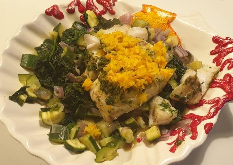 Ricetta Merluzzo in salsa d'agrumi su un letto di verdure al vapore
