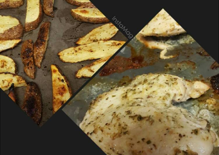 Zesty Broiled Chicken & Baked Potato Wedges