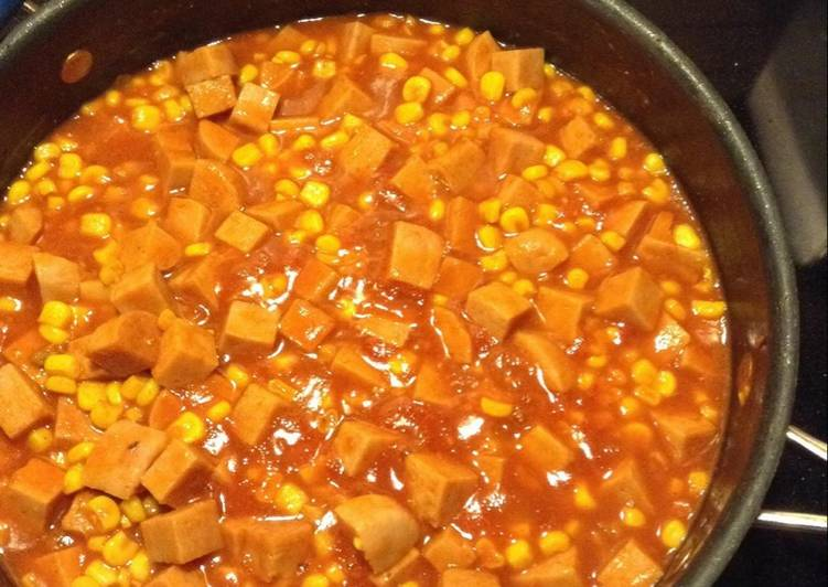 Spam and corn w/ tomato gravy - Laurie G Edwards