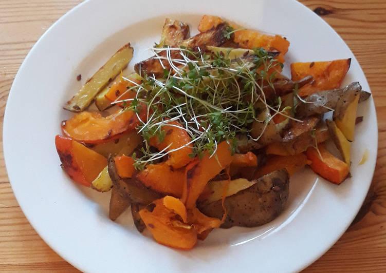 Kürbis und Kartoffeln aus dem Ofen (glutenfrei und vegan)