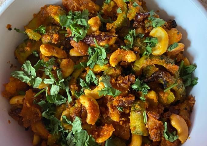 Kaju, karela batetanu shak Cashews, Bittergourd and potato curry