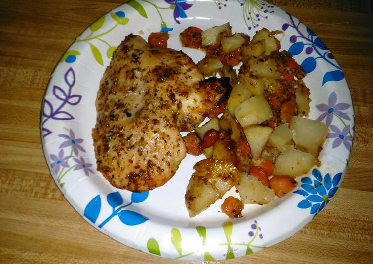 Easiest Way to Make Delicious Honey Dijon Chicken with Baby Carrots & Potatoes