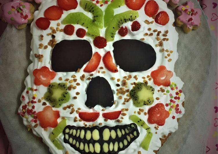 Calavera mexicana de hojaldre, merengue y fruta