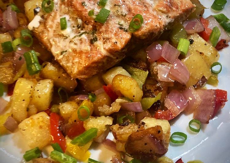 Grilled Sockeye Salmon with Rustic Hash
