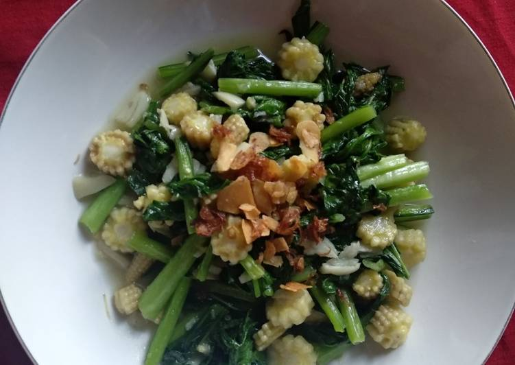 Resep Cha sawi hijau dan putren alternatif sarapan sehat simpel cepat saji Terbaik