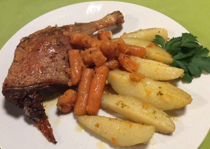 Cuisse de Canard, Carottes et Pommes de terre confites à l'ancienne