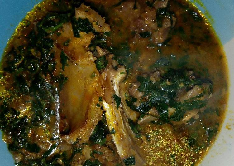 Ogbono Soup with Pumpkin leaves