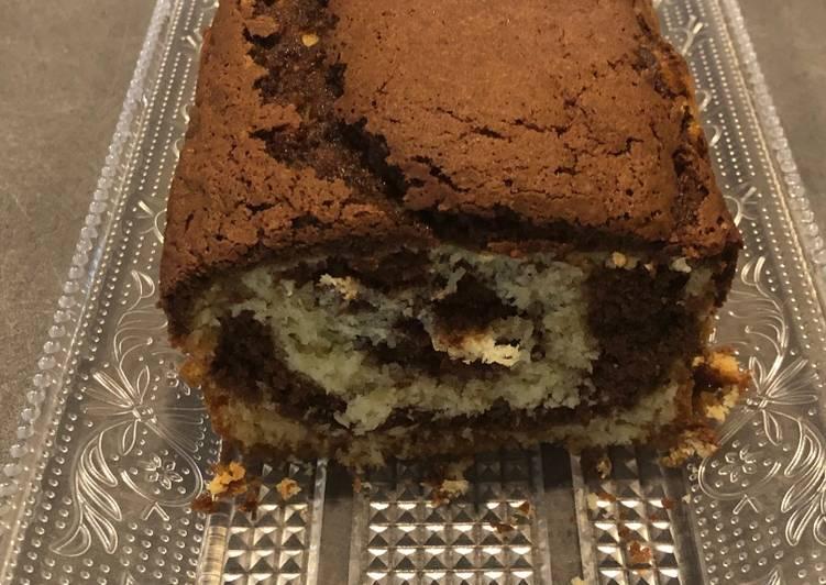 Cake marbré chocolat - coco