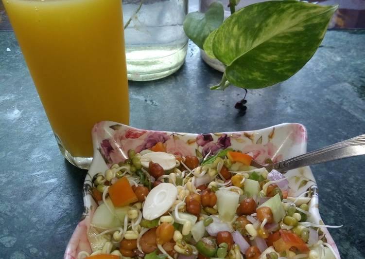 Sprouts with mango juice