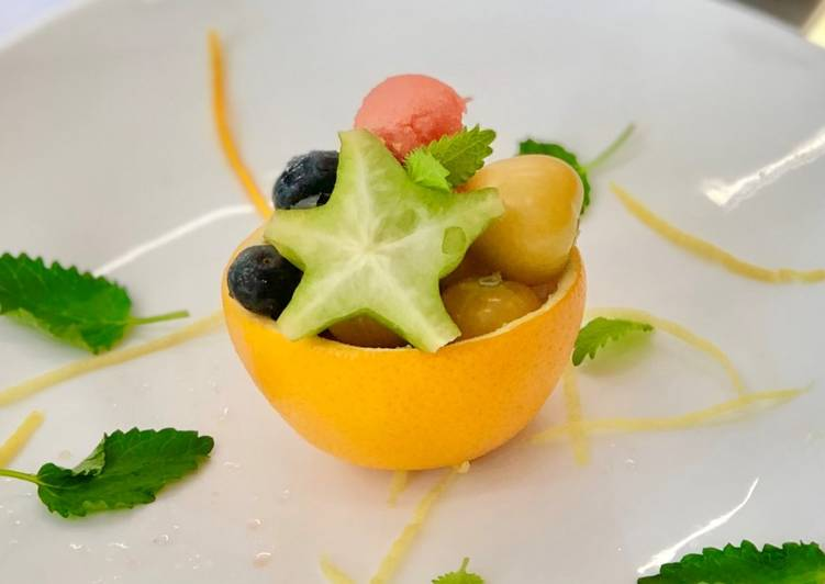 Fresh Fruits Salad with honey citrus dressing