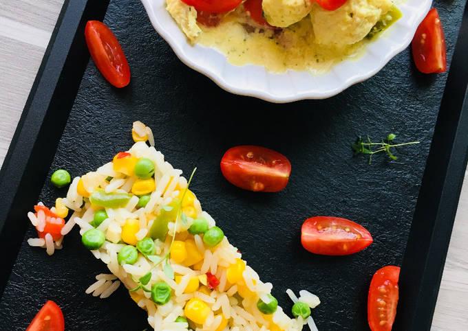 Poulet Curry Coco et Riz Basmati aux Légumes croquants