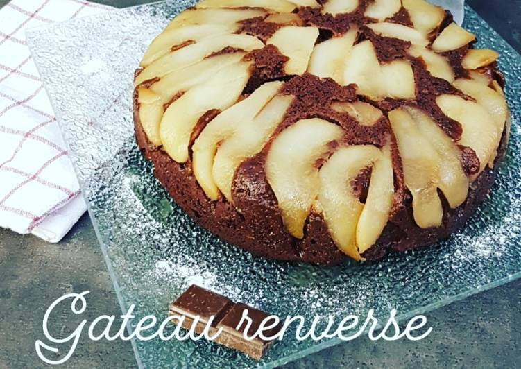 recette ¤ gâteau renversé poire/chocolat ¤ le délicieux