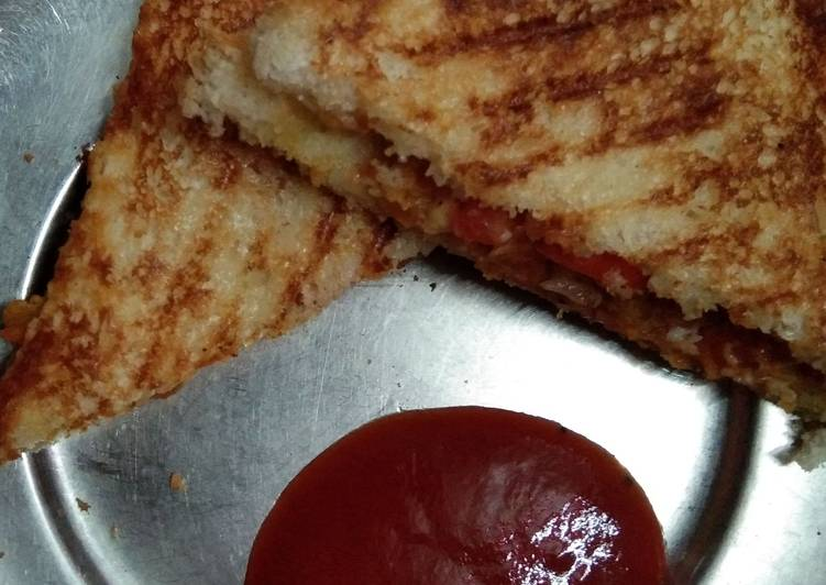 Steps to Prepare Super Quick Homemade Grilled sandwich with leftover potato vegetable