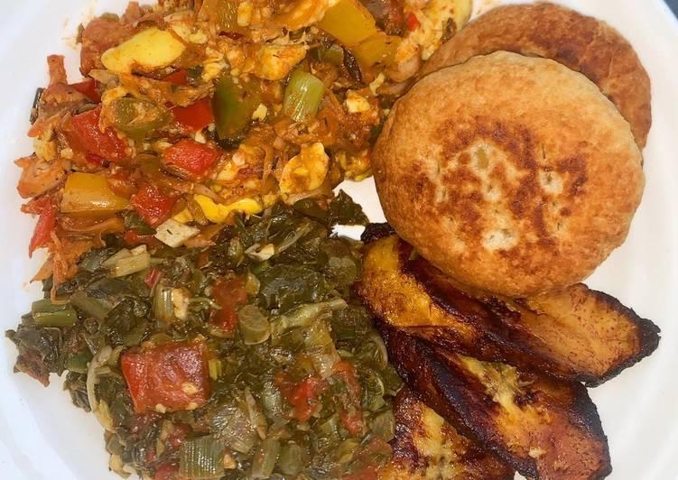 Vegan Caribbean Bowl (Ackee N Jackfruit, Callaloo, Plantain)