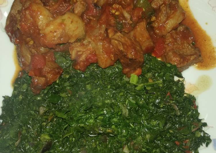 30 Minute Easiest Way to Prepare Quick Fried goat meat with sukuma