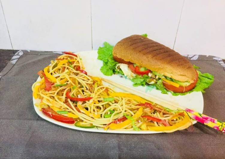 Foods That Can Make You Happy Subway Style Sandwitch  With Spaghetti