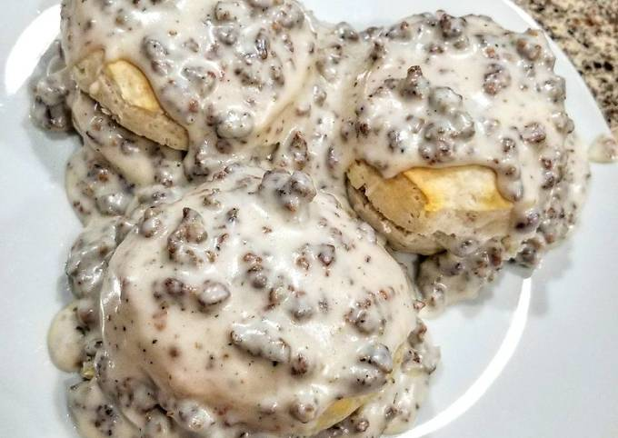 Recipe: Yummy Biscuits and Sausage Gravy