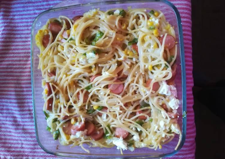 Recipe of Super Quick Homemade Spaghetti and sweetcorn