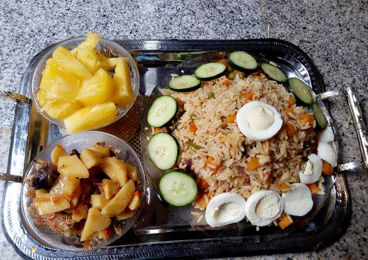 Steps to Prepare Favorite Uncurried fried rice(brown rice)