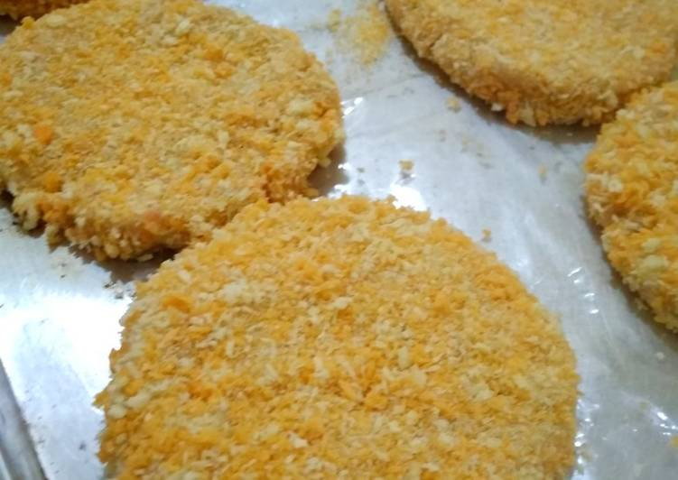 chicken patty isian burger foto resep utama Resep Indonesia CaraBiasa.com