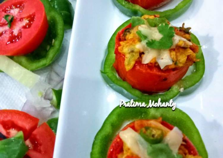 Grilled Tomato with Egg Cheese Bhurji