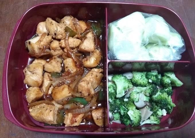 Ayam lada hitam dan cah brokoli jamur