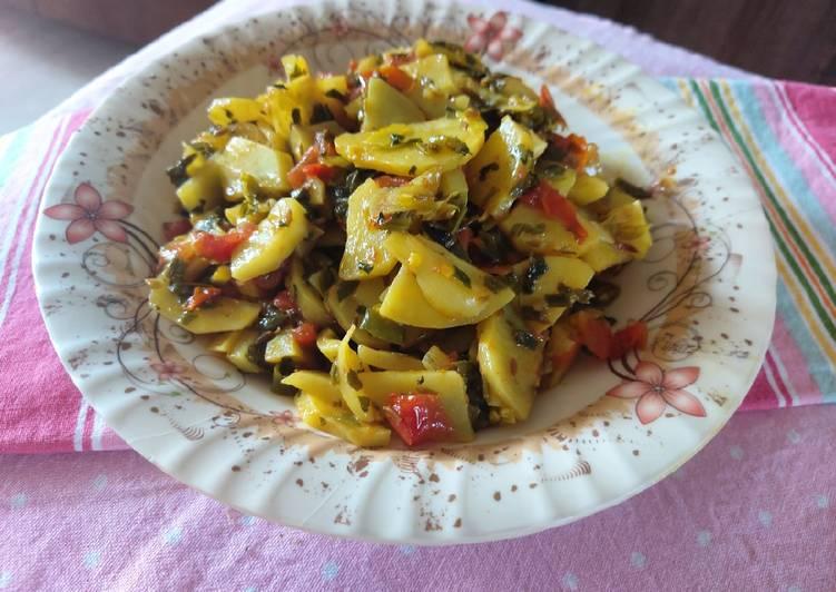 How to Prepare Favorite Potato with spring onion fenugreek leaves