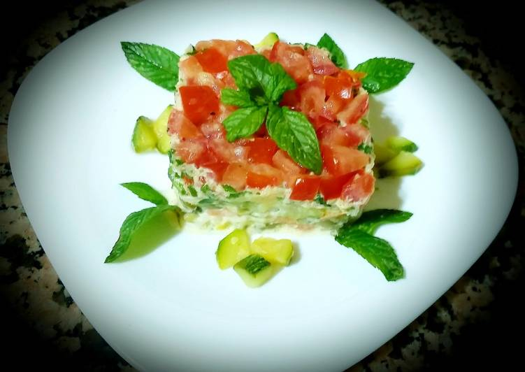 Steps to Prepare Perfect Zucchini and tomato salad a macedonian rice, tuna