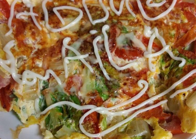 Resep 4 T dadar(telur tomat) dan sayur sawi hijau, Lezat