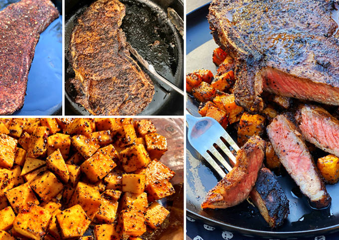 Coffee and Spice Rubbed Wagyu Strip Steak Over Butternut Squash