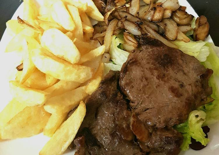 Ribeye Steak onions and mushrooms. With homemade Chips 😀
