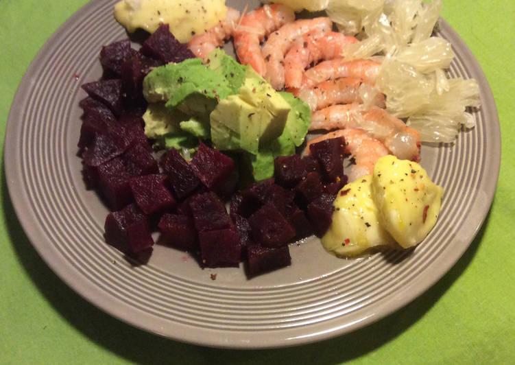 Salade Avocat, Agrume et Crevettes