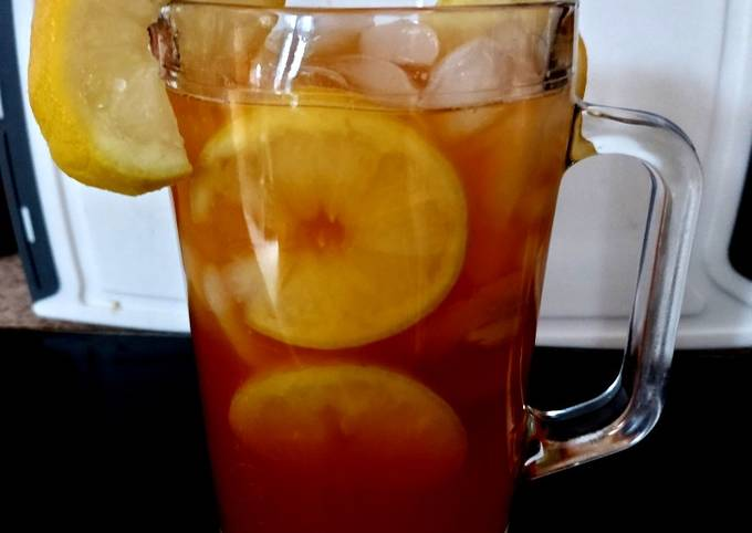 My Iced tea lovely when chilled in the fridge overnight. 🍋☕🧊🥰
