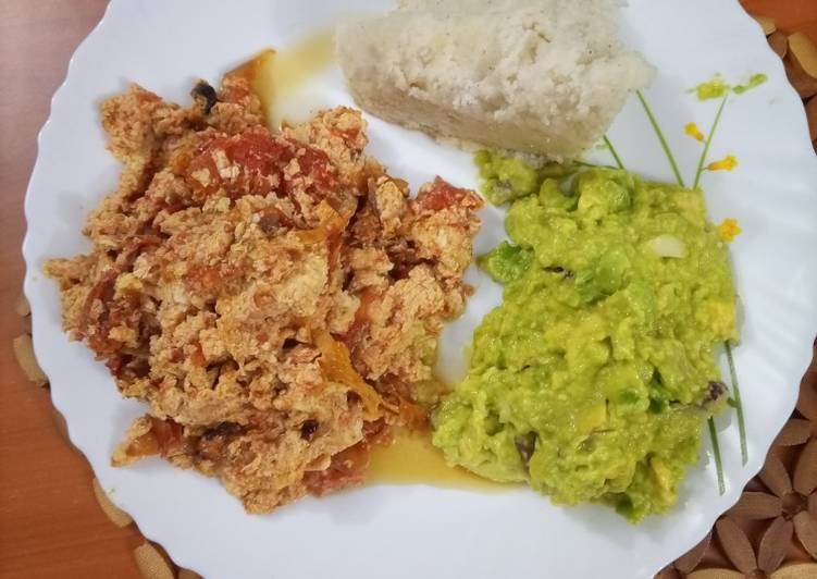 Ugali and Fried Eggs served with Guacamole
