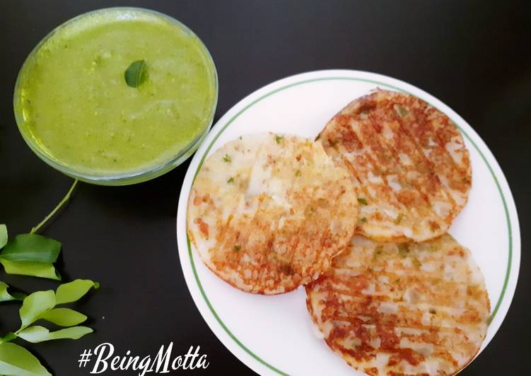 Poha Pancakes with Curry leaves Chutney