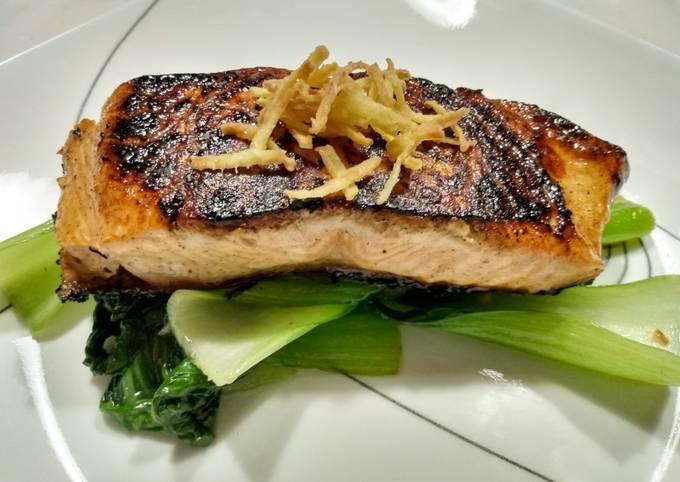 Blackened Asian salmon with crispy ginger sticks