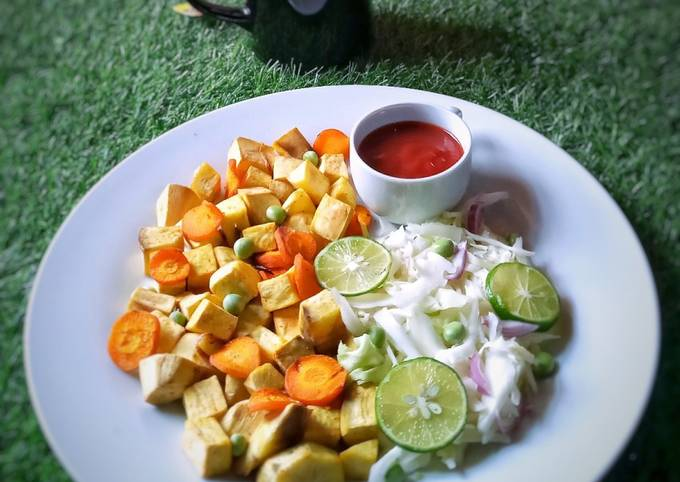 Roasted sweet potato and carrot with side salad