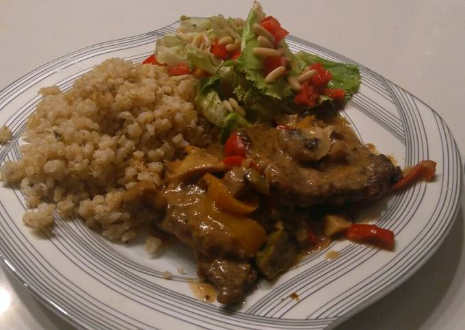 Easiest Way to Prepare Quick Beef picatta with brown rice and quinoa and a side salad